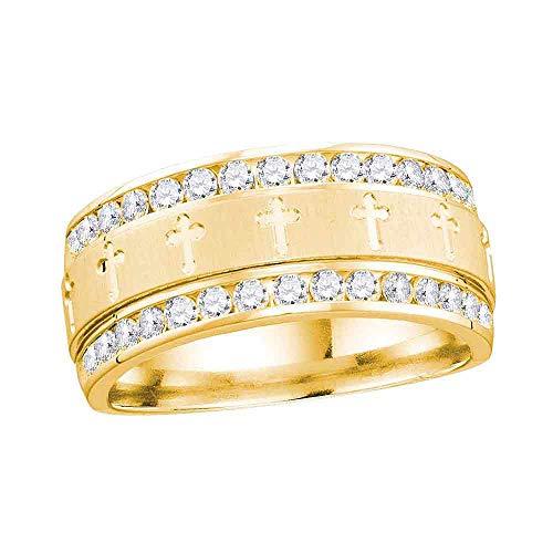 14k Yellow Gold Diamond Mens Channel-set Cross Wedding Band Ring 1/2 ct