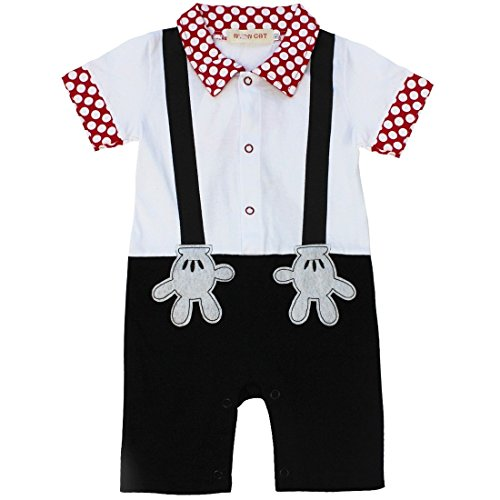 FEESHOW Baby Boys' One Piece Short Sleeve Romper Summer Outfits Black 12 Months-18 (First Halloween Outfit)