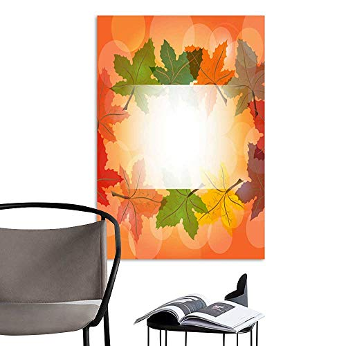 and illustration logo or copy space background of green yellow orange red blue color maple leaves frame with beautiful sunlight flare background for seasonal concept.jpg Artwork ()