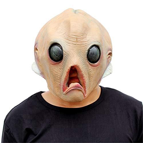 Halloween Props Horror Alien Mask Party Tidy Latex Props Masquerade Cos Headgear (Color : A) -