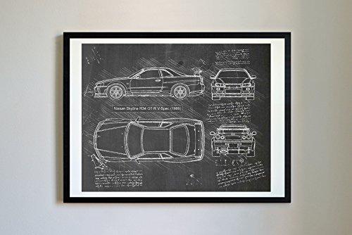 DolanPaperCo 178 Nissan Skyline R34 GT-R 1999 Art Print, da Vinci Sketch – Unframed – Multiple Size/Color Options (8x10, (R34 Gtr)