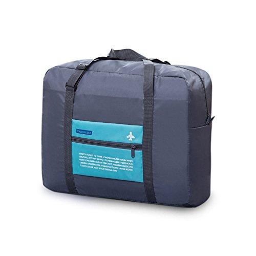 Blueidea® Pieghevole Borsa Impermeabile Grande capacità Sacchetto di Vestiti di Viaggio Sacchetto del Bagagli in Nylon (Grigio Blu)