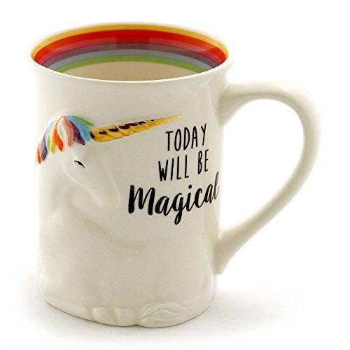 Enesco 6000548 - Taza de café esculpida con texto en inglés'Our Name Is Mud Stoneware', 473 ml, multicolor, Unicornio...