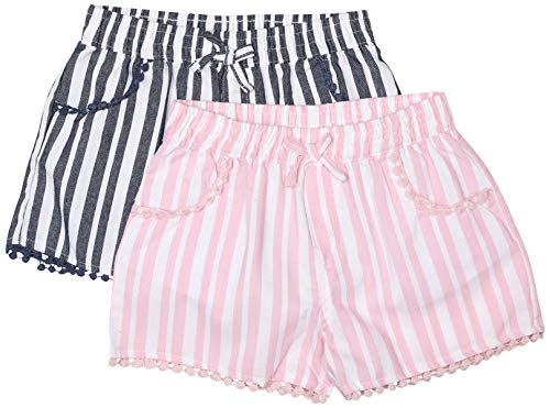 dELiA*s Girls Super Soft Denim Chambray Shorts (2 Pack), Blue & Pink Stripes, Size 10/12'