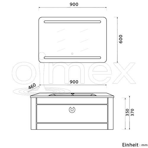 """Armatur LED Spiegel Badezimmerm/öbel Set mit Waschbecken oimexgmbh Design Badm/öbel Set /""""Nika/"""" Weiss Hochglanz Waschtisch 90cm inkl"""