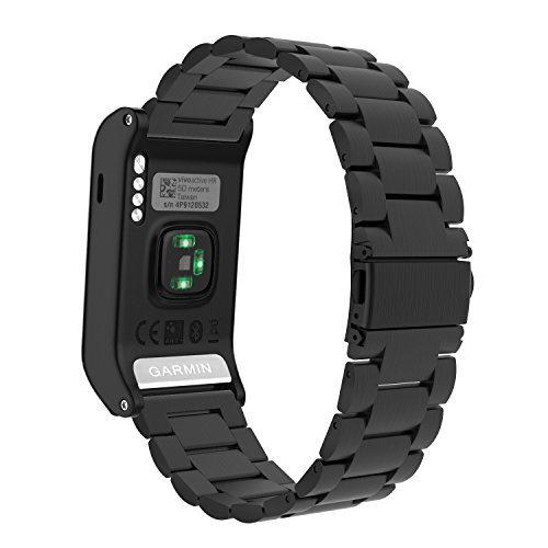 MoKo Garmin Vivoactive HR Watch Band, Universal Stainless Steel Adjustbale Watch Band Strap Bracelet with Adapter Tools ONLY for Garmin Vivoactive HR Sports GPS Smart Watch, Black by MoKo