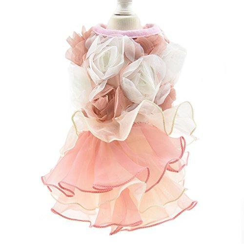 3D Chiffon Rose Dog Dress For Cat Pet Dog Skirt Dog Wedding Dress Outfits Apparel Summer Small Dog Shirt Clothes (L(Back12.9'' Bust18.8), Pink) by DIAN DIAN Pet (Image #1)