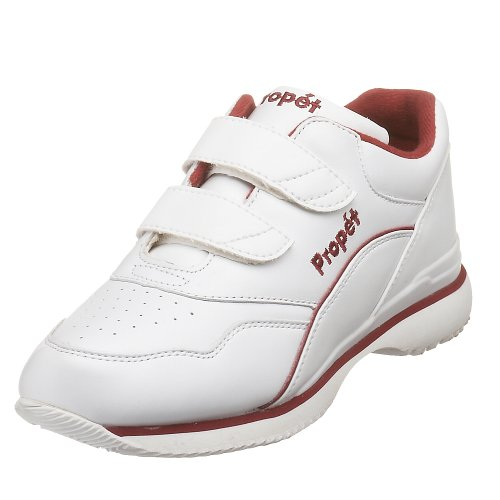 Propet Women's Tour Walker Strap Sneaker,White/Berry,8 W (US Women's 8 D)