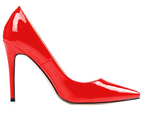AOOAR Womens Heeled Slip On Pointy Dress Pumps Shoes Red Patent CvTf1pMYKi