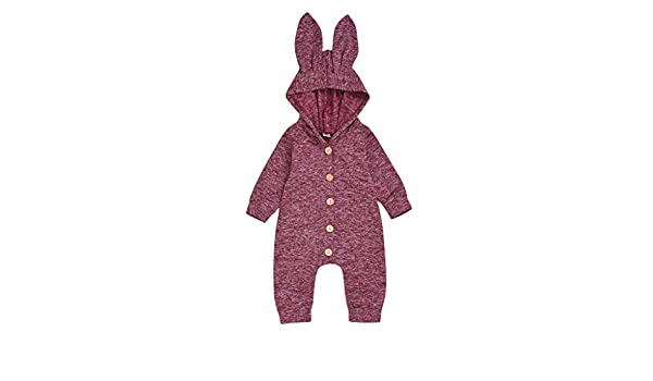 Gornorriss Baby Rompers Newborn Toddler Boys Girls Cartoon Bunny Ears Warm Hooded Jumpsuit