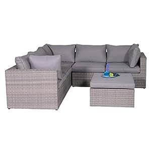 Jardín Lounge outliv. Naranja Bird Lounge–Juego de 4piezas semicircular trenzado Shadow Grey/Cojín Arena 700016–873370