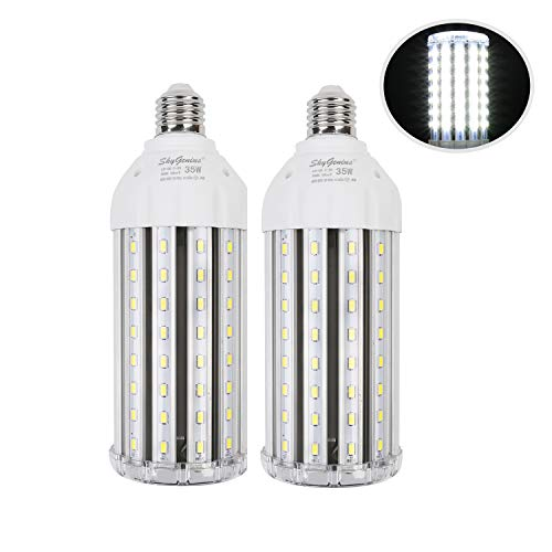 35W Super Bright LED Corn Light Bulb for Garage, E26 High Output 3500Lm 6500K Daylight LED Corn Bulb 300 Watt Equivalent, for Backyard Basement Barn Workshop Outdoor Large Area(2 Pack)