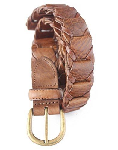 768-TAN- Men's Casual Vintage Tan Genuine Cowhide Full grain Leather Link Belt (38(fits 36