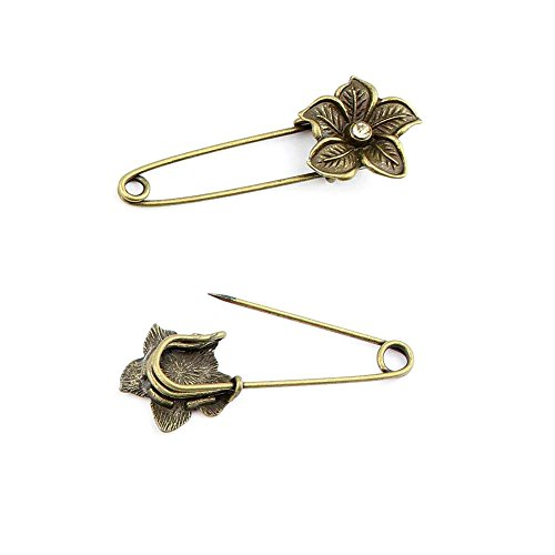 90pcs Jewelry Making Charms Jewellery Charme Antique Bronze Brass Tone Findings Lots Bulk Supply Supplies Repair Vintage Retro IC028 Flower Pin Brooch