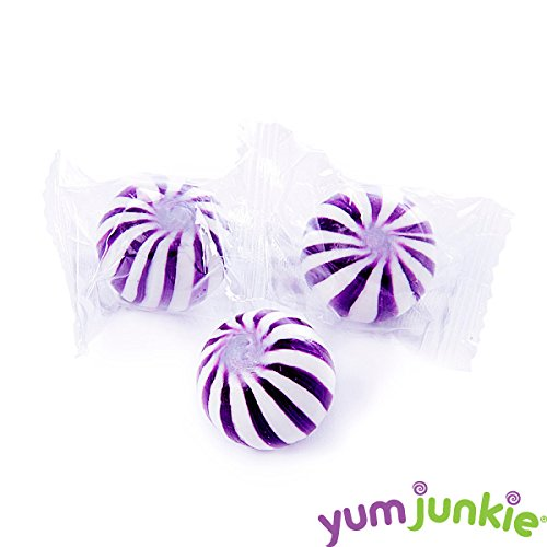 YumJunkie Sassy Spheres Purple Striped Candy Balls, Grape, 5 Pound by YumJunkie
