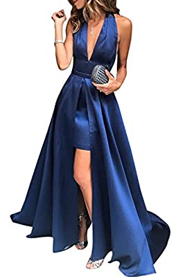 Weddder Prom Dresses 2018 High-Low Halter V-Neck Open Back Satin Formal Evening Gowns