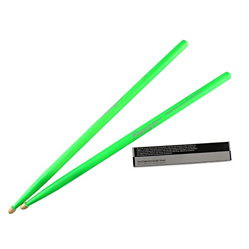 Flanger 5A-HG Glow under stage's light of American Hickory Drum Stick, Green