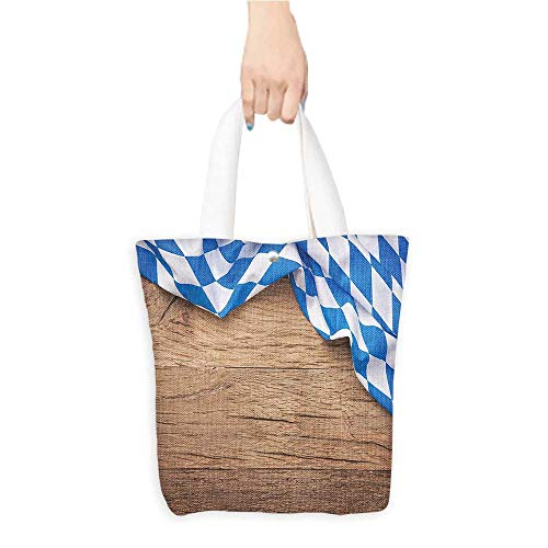Custom Shoulder Bags Oktoberf Checkered Fabric Wooden Rustic Country Style Blue White Birthday Present Gift W16.5 x H14 x D7 INCH