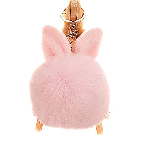 Kissweet Fluffy Faux Rabbit Fur Ball Keychain Fuzzy Pom Pom Key Chain Puffball Keyring Bag Charm Pendant(Rabbit-pink) ()