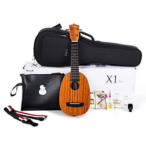 Enya Pineapple Soprano Ukulele 21 Inch Beginner Kit, HPL and Mahogany Neck - With Bundle Includes Online Lessons, Case, Strap, Strings, Capo, Sand Shaker, Picks, Polish Cloth (EUP-X1)