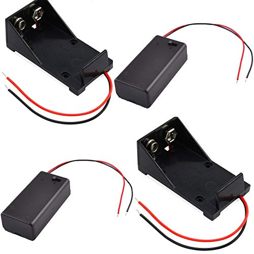 4Pcs 9V Battery Case,2Pack 9V Battery Box with ON/Off Power Switch Toggle & 2Pack 9V Battery Holder Case ()