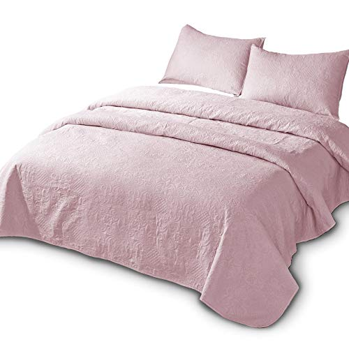 DOMDEC Bedspread Mini Set Light Weight Coverlet Set Oversized Pre-Washed 3 Piece Quilt Set Solid Color (Blush Pink, Oversize Queen Set)