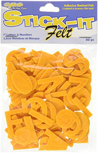 (The New Image Group Stick It Felt, 1-Inch Numbers & Letters, Gold,)