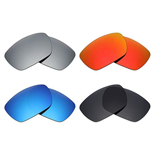 Mryok 4 Pair Polarized Replacement Lenses for Oakley Tinfoil Sunglass - Stealth Black/Fire Red/Ice Blue/Silver Titanium