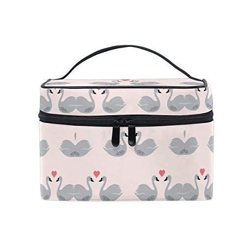 Love Black Swan Bird Women Makeup Bag Travel Cosmetic Bags Toiletry Train Case Beauty Pouch Organizer]()