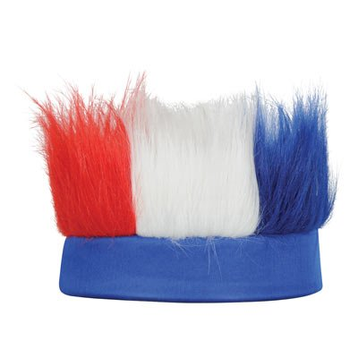 Patriotic Hairy Headband (Red, White, Blue) Party Accessory (1/Pkg) Pkg/3 ()