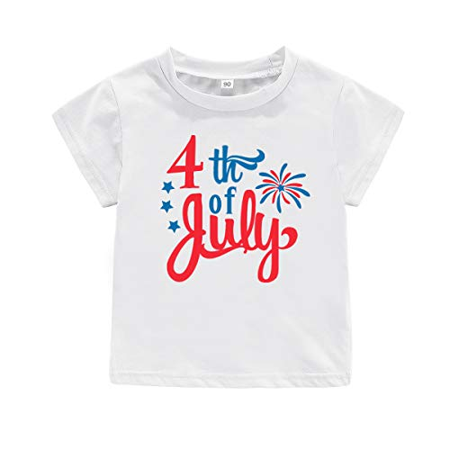 (4TH of July Shirt Baby Boys Girls Happy Independence Day tees,Love USA Blue Red Stars Stripes Casual Tops Clothing for Little Kids (White July, tag 120))
