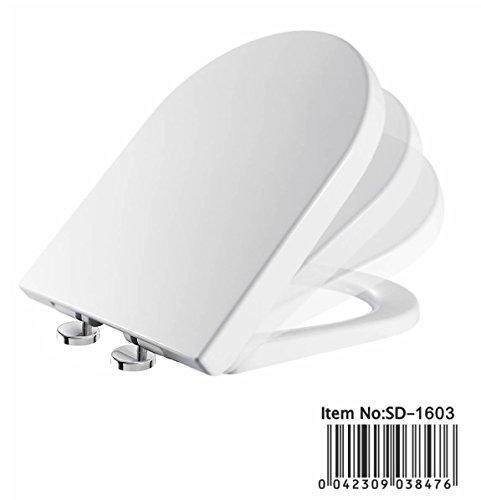 "-[ Toilet Seat Soft Close Quick Release D-Shaped White ""UF"" (Urea-Formaldehyde) Material"