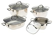 Prime Cookware 8 Piece Square Stainless Steel Cookware Set with Glass Lids by Prime Pacific