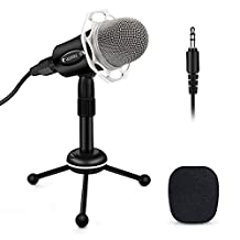 PC Microphone , ELEGIANT Condenser Microphone 3.5mm Home Studio Portable Microphone Recording Microphone with Stand for Skype, Karaoke, YouTube Recording, Podcast, Games,for PC Computer Iphone Phone Android Ipad