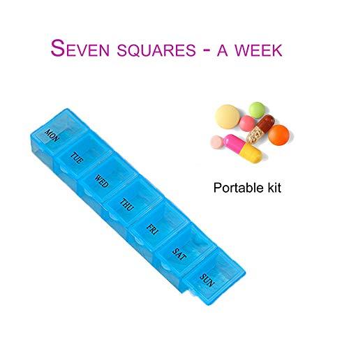 Mouchao Contenitore Blu della compressa della Medicina di Viaggio allaperto della Scatola della Pillola della Medicina settimanale della Grata Blu