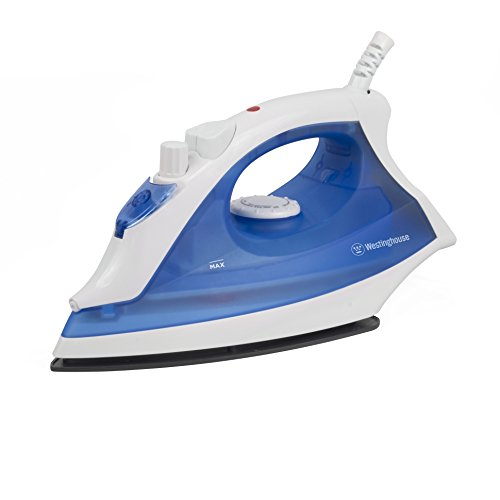 Westinghouse Professional Steam Iron with 9.5 Ounce Water Tank, 1200 Watts, Ceramic Soleplate, White with Blue Accents