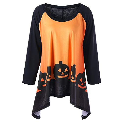 Halloween Plus Size 2 Tone Monster Pumpkin Print Scoop Neck Blouse Tops T-shirt (3XL/US18, Yellow) -