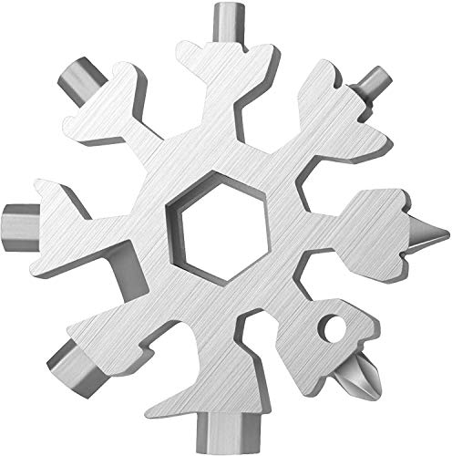 19-in-1 Snowflake Multi Tool, Stainless Steel Snowflake Bottle Opener/Flat Phillips Screwdriver Kit/Wrench, Durable and Portable to Take, Great Christmas gift(Standard, Stainless Steel)