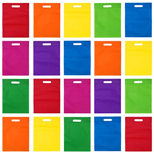 Aneco 40 Pieces 9.5 by 13.5 Inches Non-Woven Poly Tote Bags Party Gift Treat Bag Handles Goodie Bag Rainbow Colors Bag for Halloween Christmas Party Favors, 8 Colors