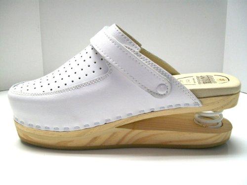 LUVER Sabot en bois anatomique avec ressort 120/A couleur blanc taille 36
