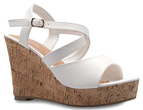 OLIVIA K Women's Open Toe Strappy Mid Wedge Heel Wood Decoration Buckle Shoes Sandals (Shoe Decoration)