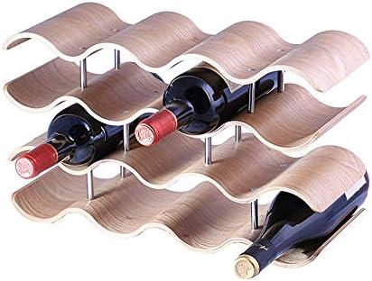 MiaoMiao Wooden bottle holder, elegant and modern corrugated countertop, table bottle holder (oak, 16 bottles)