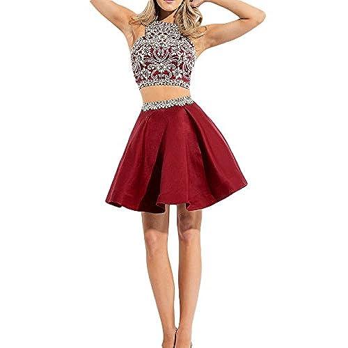 2 Piece Red Prom Dress: Amazon.com