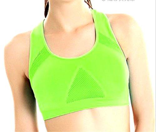 Fulok Women's Seamless Padded Breathable Racerback Sport Yoga Bra Green Medium