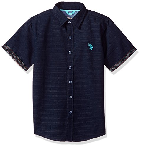 U.S. Polo Assn. Boys' Big Short Sleeve Woven Shirt, Dobby Stripe Classic Navy, 10/12