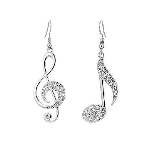 BIRSTONE Dazzling Czech Rhinestone Treble Clef Music Note Eighth Note Fish Hook Dangle Earrings,Silver