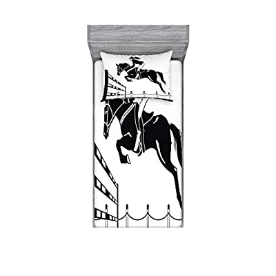 Ambesonne Cartoon Fitted Sheet & Pillow Sham Set, Racing Horse with a Jockey Girl Jumping Above Barrier Barn Farming Print, Decorative Printed 2 Piece Bedding Decor Set, Twin, White Charcoal Grey: Home & Kitchen