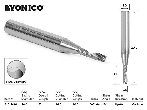 (Yonico 31011-SC O-Flute Up Cut Solid Carbide CNC Router Bit, 1/8 x 1/2 x 1/4 x 2