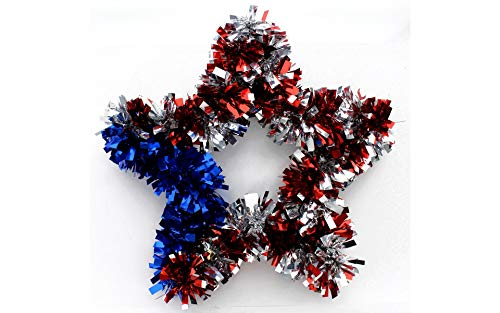 Red, White and Blue 4th of July Sparkling Tinsel Star Wreath, 12 Inches, Patriotic Wall Decor ()