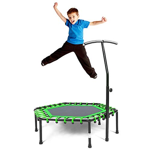 Safly Fun Fitness Trampoline Mini Trampoline Adjustable Handle Bar, Indoor Trampoline Rebounder Adults - Exercise Rebounder Home Trainer Cardio Workout 40'' (Green) ()